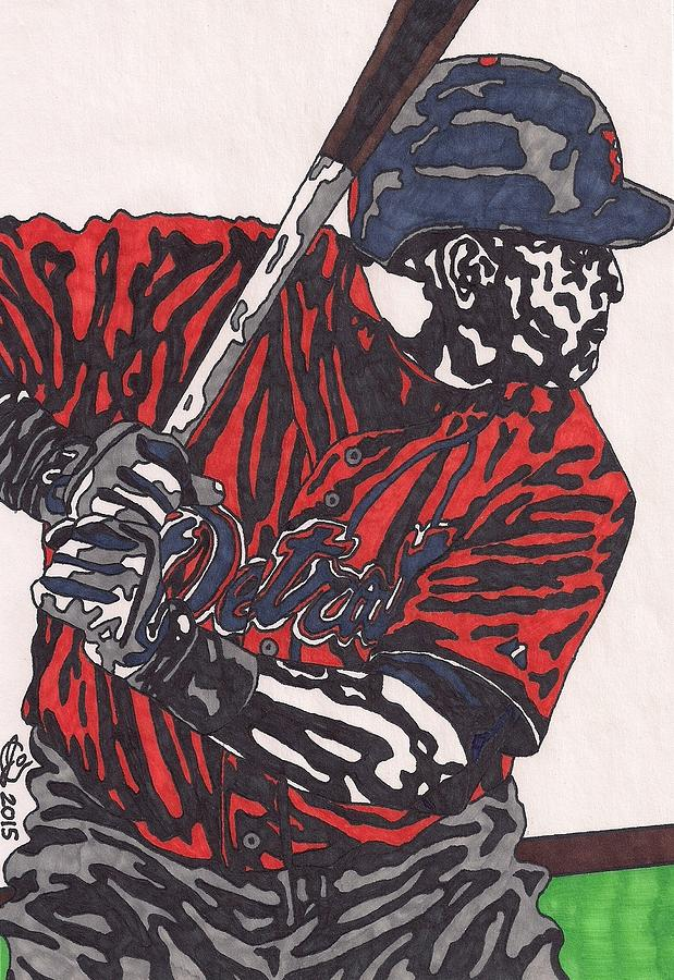 American Baseball Drawing - Miguel Caberera 1 by Jeremiah Colley