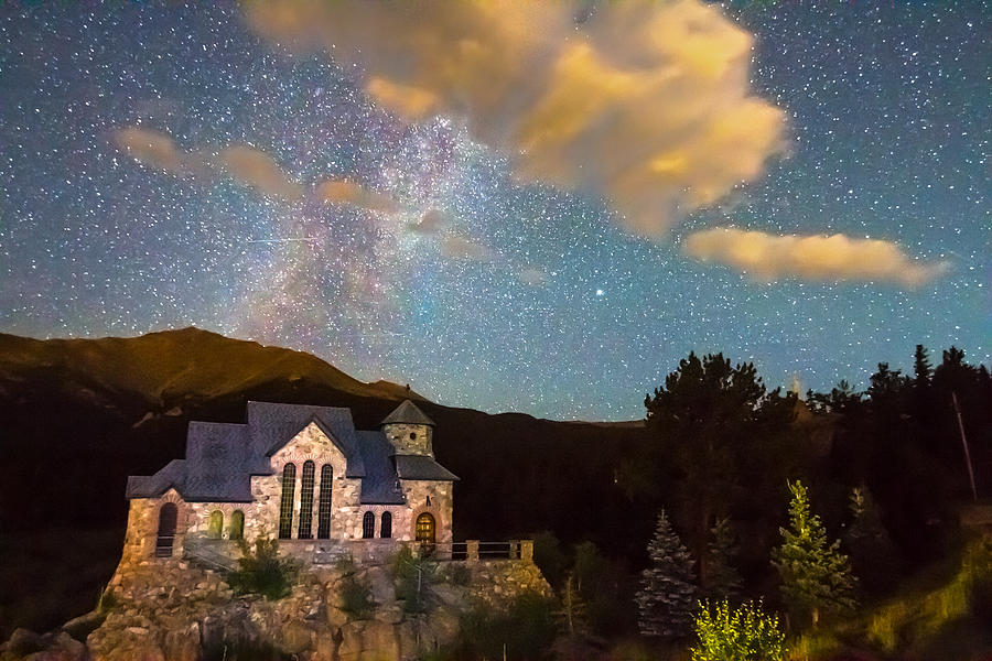 Milky Way Perseid Meteor Shower And Chapel On The Rock Photograph