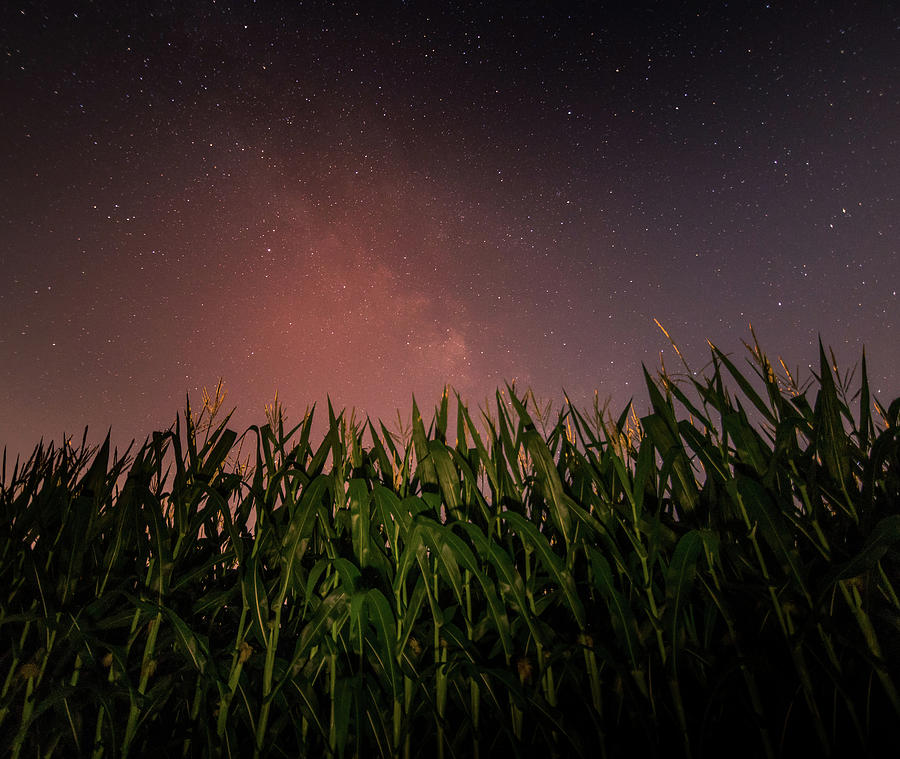 Milky Way Rising Over Farm Field Photograph