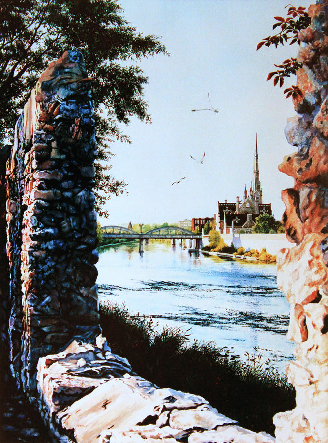 Cambridge Ontario Cityscape Painting - Mill Race Look-out by Hanne Lore Koehler
