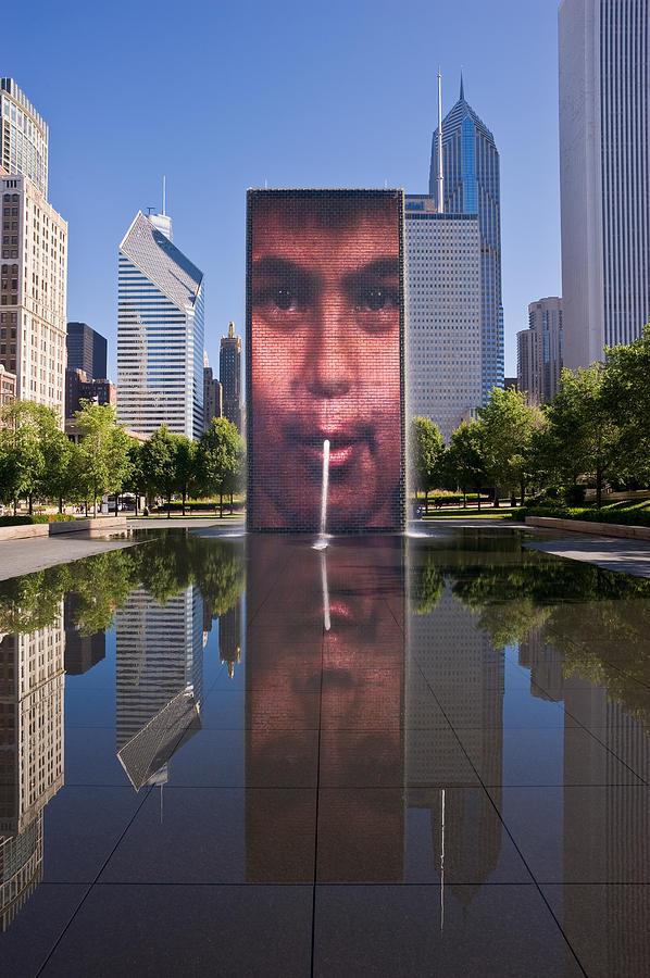 Art Photograph - Millennium Park Fountain And Chicago Skyline by Steve Gadomski