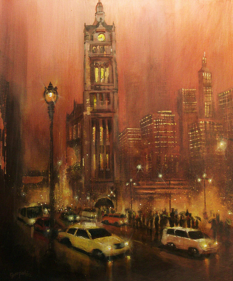 City At Night Painting - Milwaukee City Hall by Tom Shropshire
