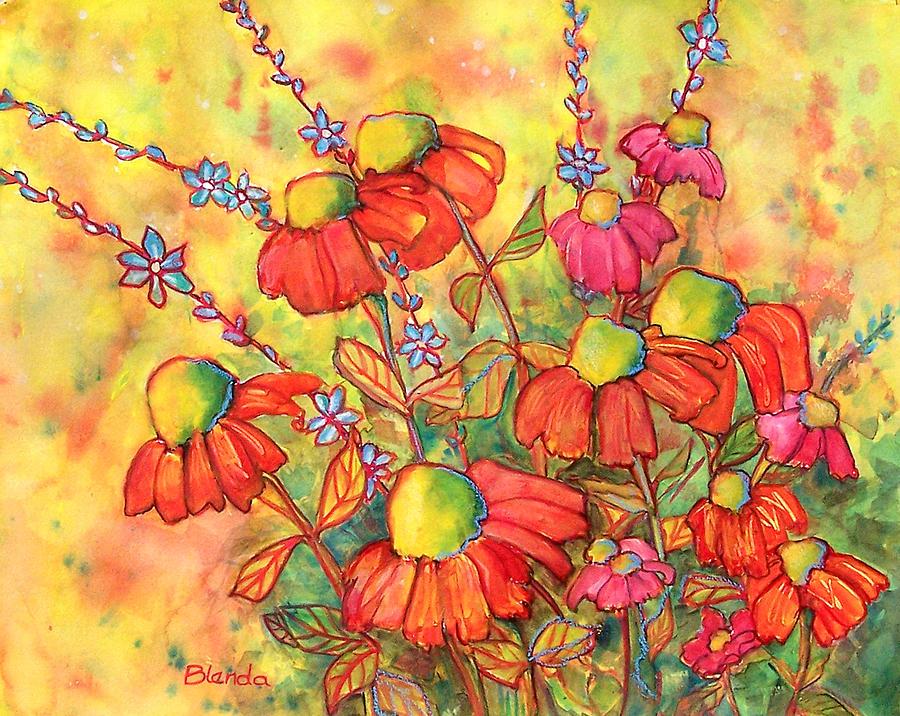 Yellow Painting - Mimosa Sky Flowers by Blenda Studio