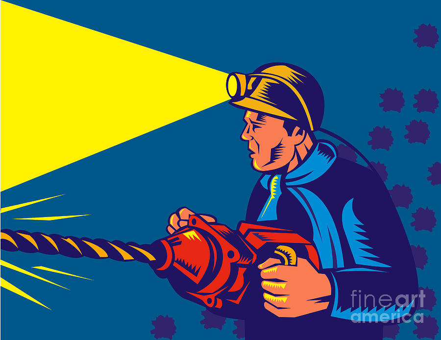 Illustration Digital Art - Miner With Jack Drill by Aloysius Patrimonio