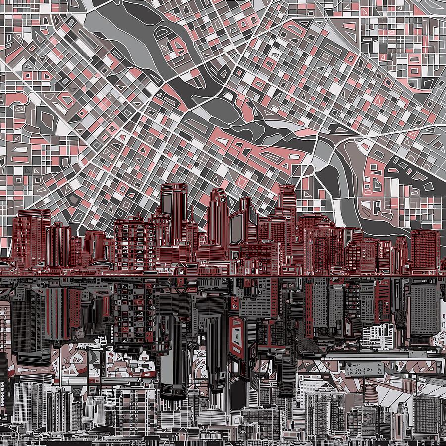 Minneapolis Painters: Minneapolis Skyline Abstract 9 Painting By Bekim Art