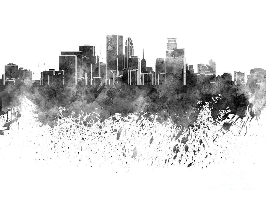 Minneapolis Skyline In Black Watercolor On White