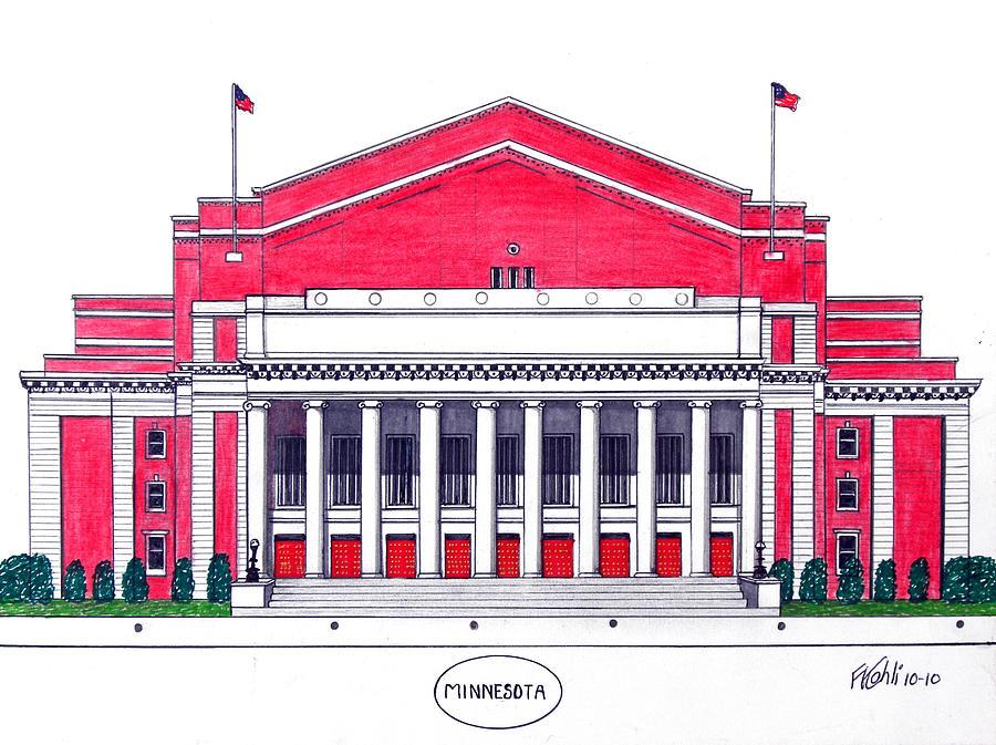 University Of Minnesota Northrup Auditorium Drawing Drawing - Minnesota by Frederic Kohli