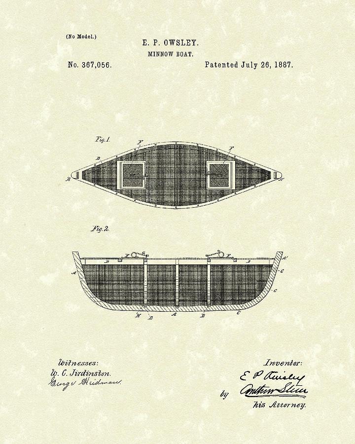 Minnow Boat 1887 Patent Art Drawing