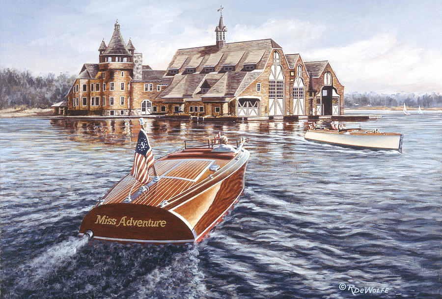 Chris Craft Painting - Miss Adventure by Richard De Wolfe