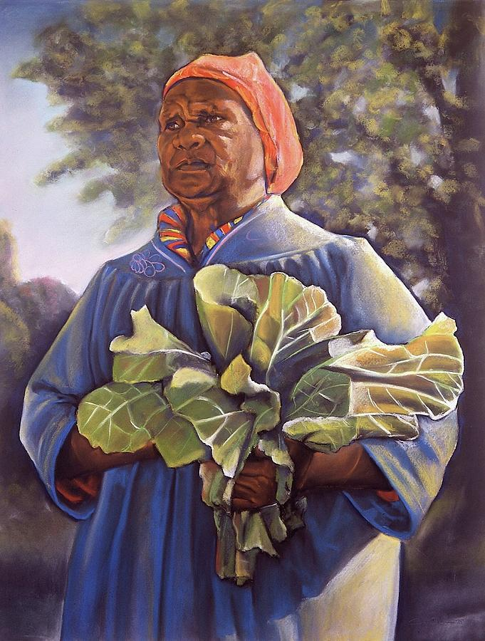 Women  Pastel - Miss Emmas Collard Greens by Curtis James