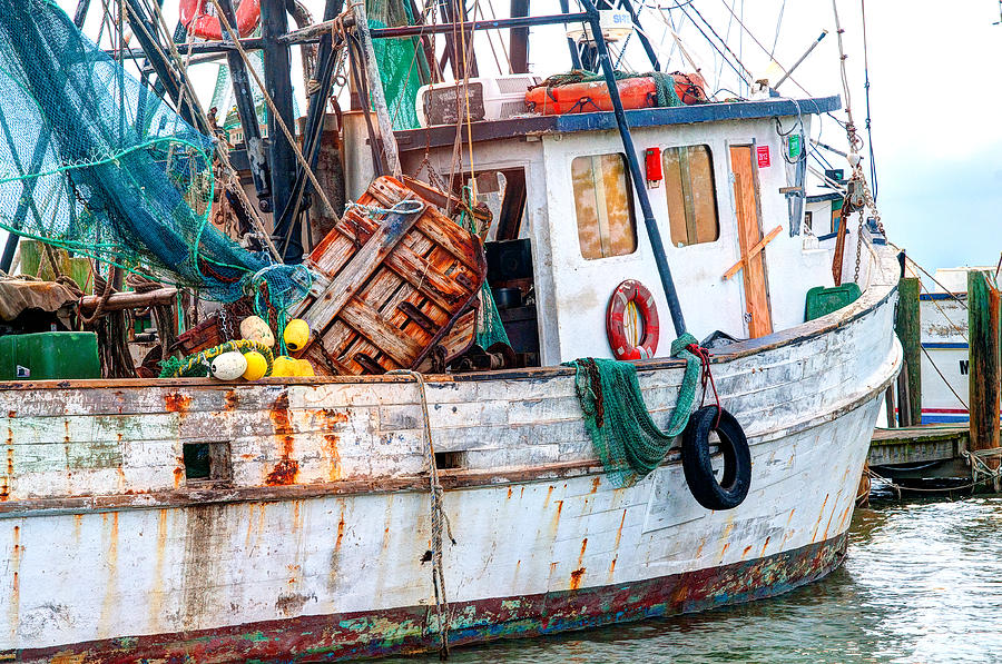 Marsh Photograph - Miss Hale Shrimp Boat - Side by Scott Hansen
