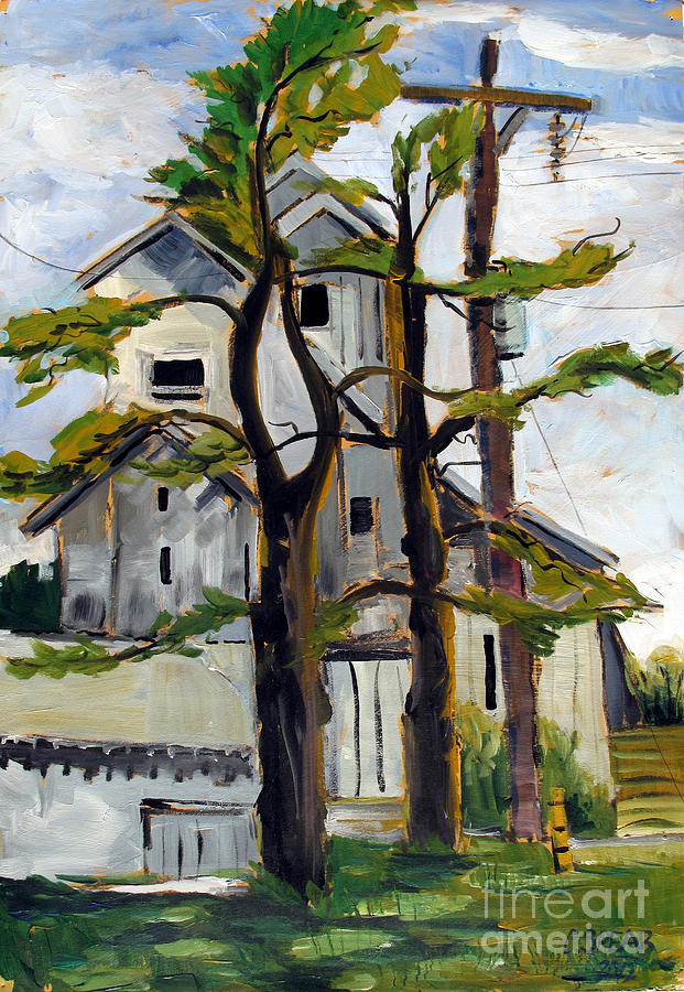 Landscape Painting - Missouri Nowata Elevator by Charlie Spear