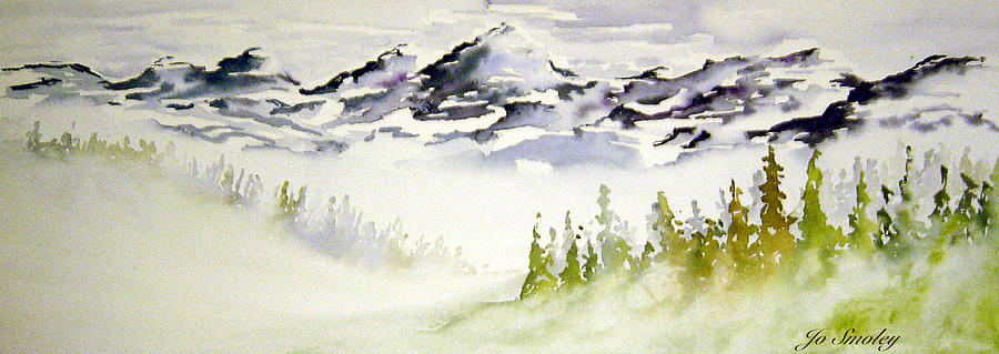 Rock Mountain Range Alberta Canada Painting - Mist In The Mountains by Joanne Smoley