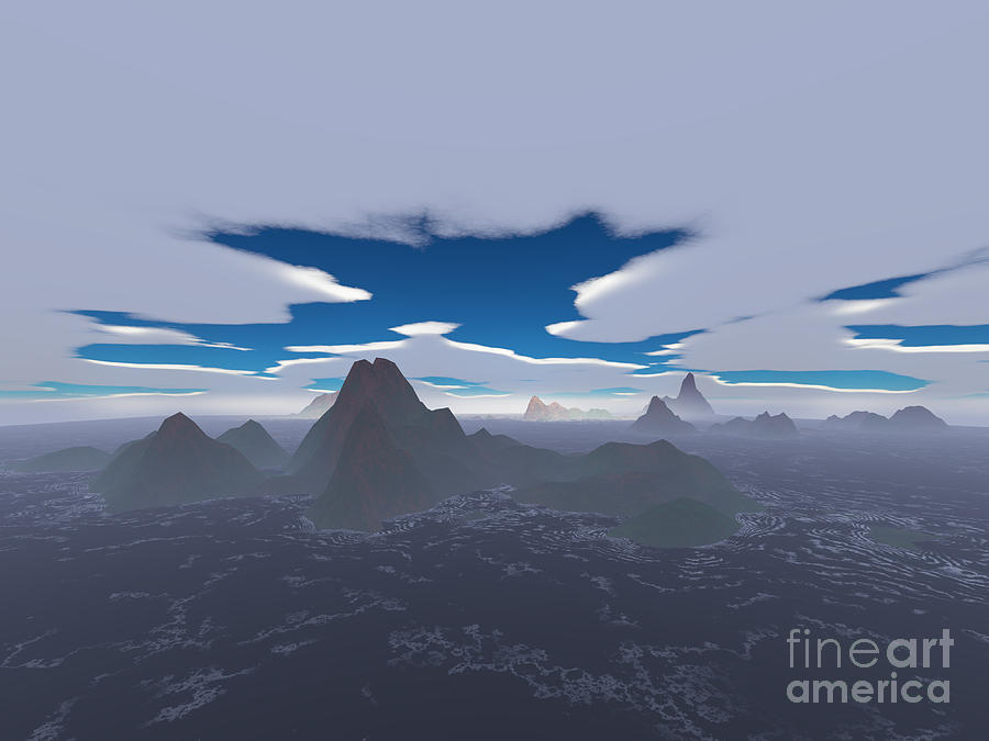Aerial Digital Art - Misty Archipelago by Gaspar Avila