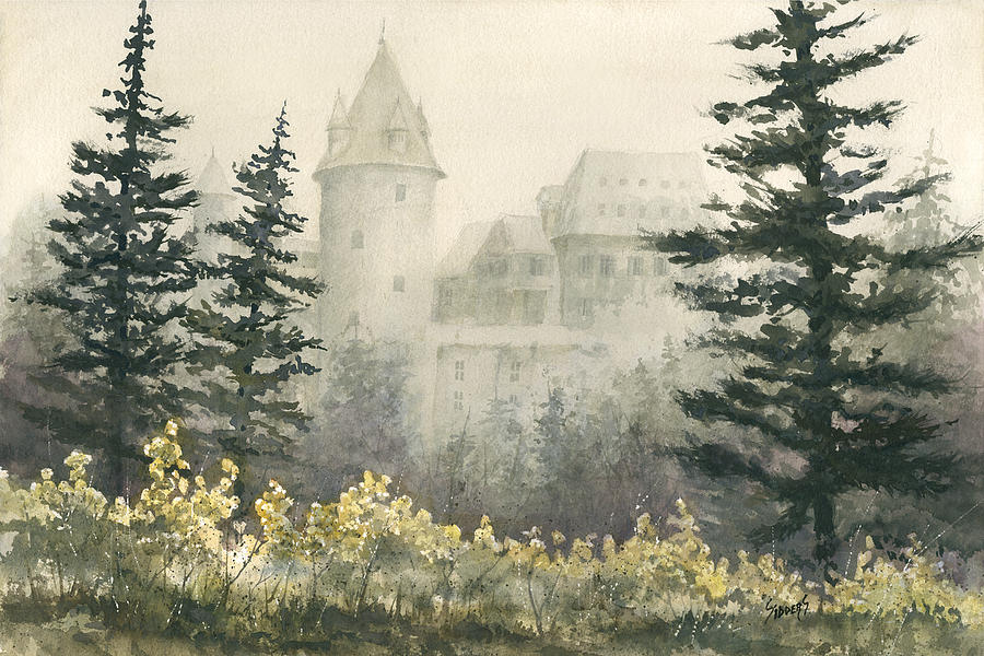 Castle Painting - Misty Morning by Sam Sidders