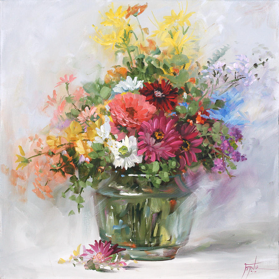 Mixed Flowers In A Glass Vase 2555 Painting By Fernie Taite