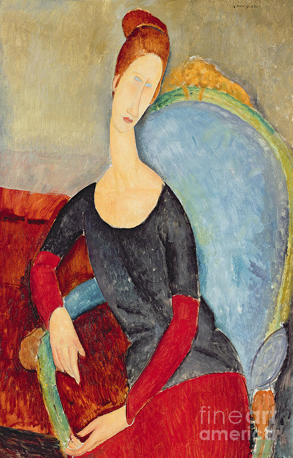 Mme Hebuterne In A Blue Chair Painting - Mme Hebuterne In A Blue Chair by Amedeo Modigliani