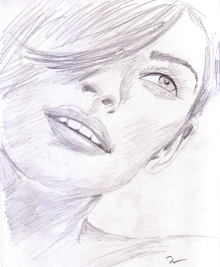 Graphite Drawing - Model by M Valeriano