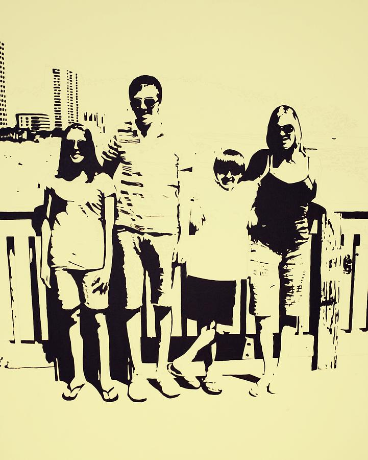 Family Painting - Modern Day Single Mom Family Vacation  by Sheri Buchheit