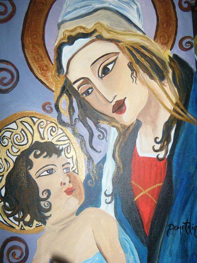 Modern Madonna And Child -religious Art Painting - Modern Mother And Child by Demetria Kelley