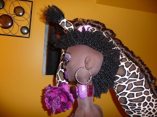Handmade Giraffe Sculpture - Mohawk African Beauty Queen by Cassandra George Sturges