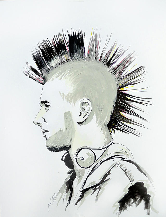 how to draw a mohawk front view