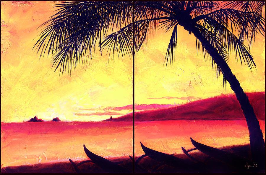 Light Painting - Mokulua Sundown by Angela Treat Lyon