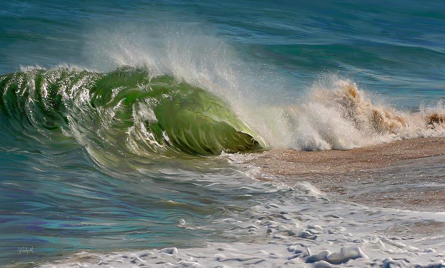 Ocean Wave Painting - Momentum by Sue  Brehant