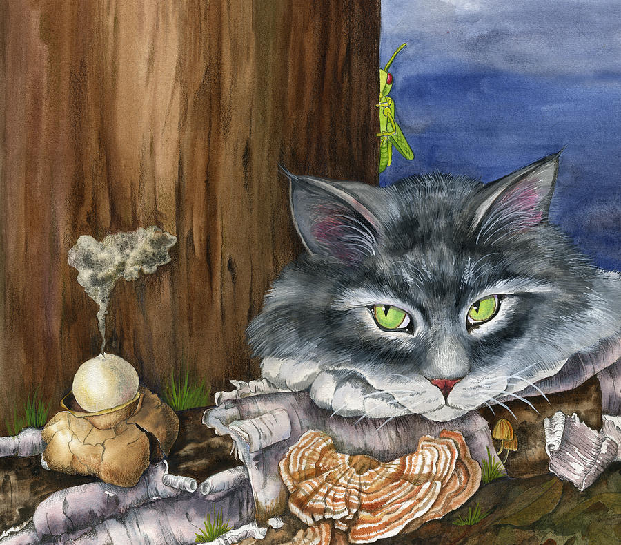 Cats Painting - Mona With The Mushrooms by Mindy Lighthipe