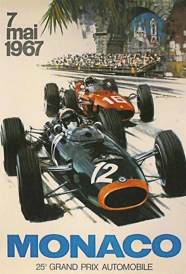 Monaco Grand Prix Digital Art - Monaco Grand Prix 1967 by Georgia Fowler