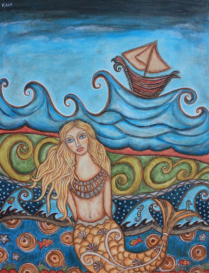 Folk Art Apainting Painting - Monique Mermaid by Rain Ririn