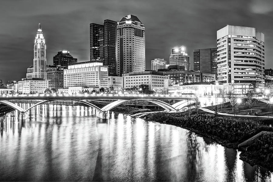 Monochrome Columbus Skyline At Night Photograph