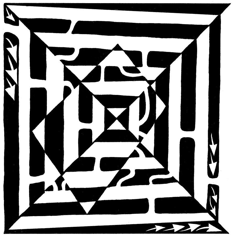 Maze Art Drawing - Monolith Maze Optical Illusion by Yonatan Frimer Maze Artist