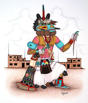 Monongya-lizard Kachina Mixed Media by Alfred Dawahoya  Hopi Drawings