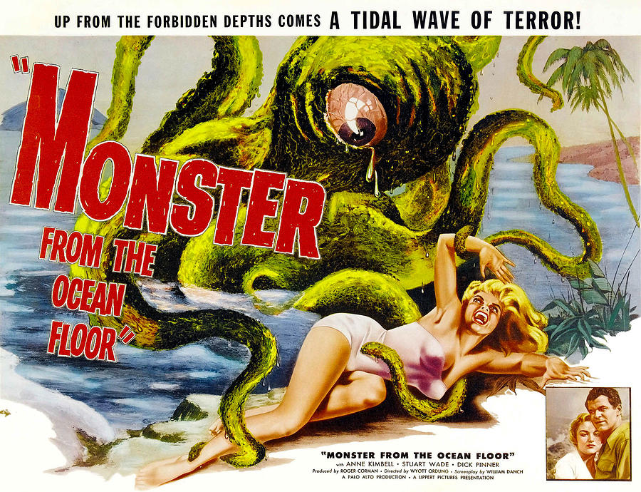 1950s Movies Photograph - Monster From The Ocean Floor, Anne by Everett