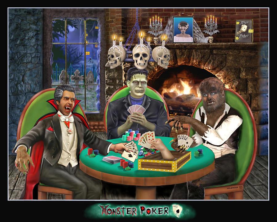 Halloween Art Greeting Cards Digital Art - Monster Poker by Glenn Holbrook