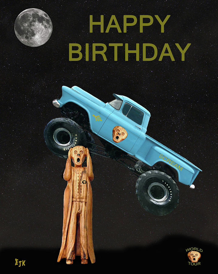 Scream World Tour Mixed Media - Monster Truck The Scream World Tour Happy Birthday by Eric Kempson