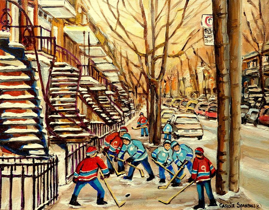 Montreal Cityscene Street Hockey Painting - Montreal Street Hockey Paintings by Carole Spandau