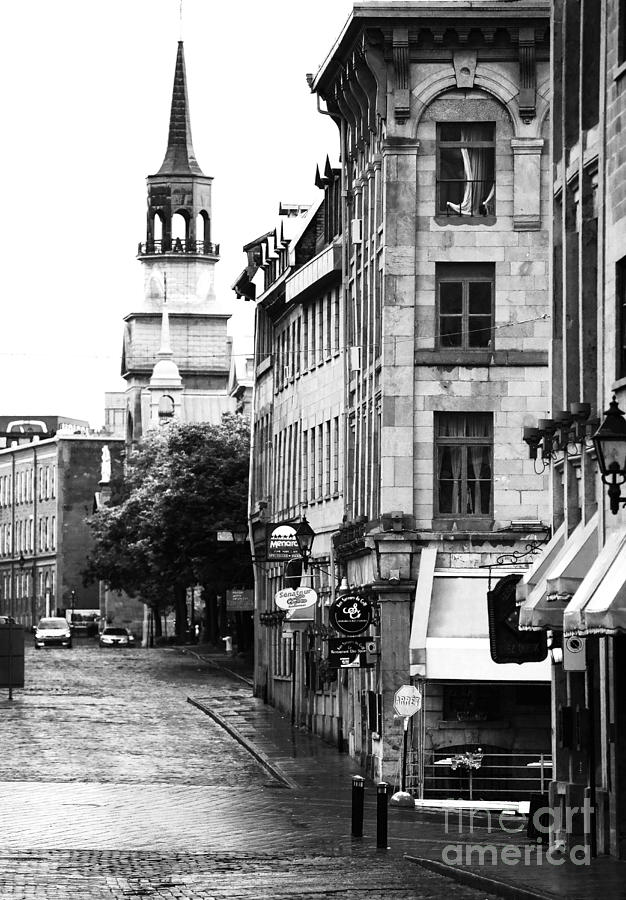 Montreal Street In Black And White Photograph - Montreal Street In Black And White by John Rizzuto