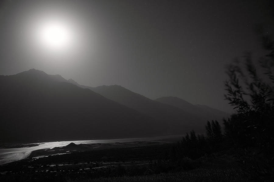 Moon Above Pyandzh Valley Photograph