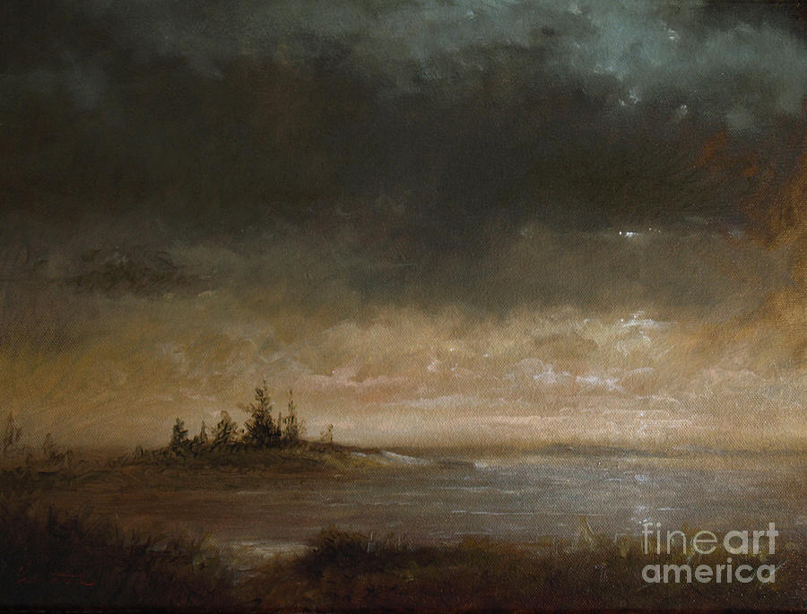 Moonlight Painting - Moon In Maine by Larry Preston