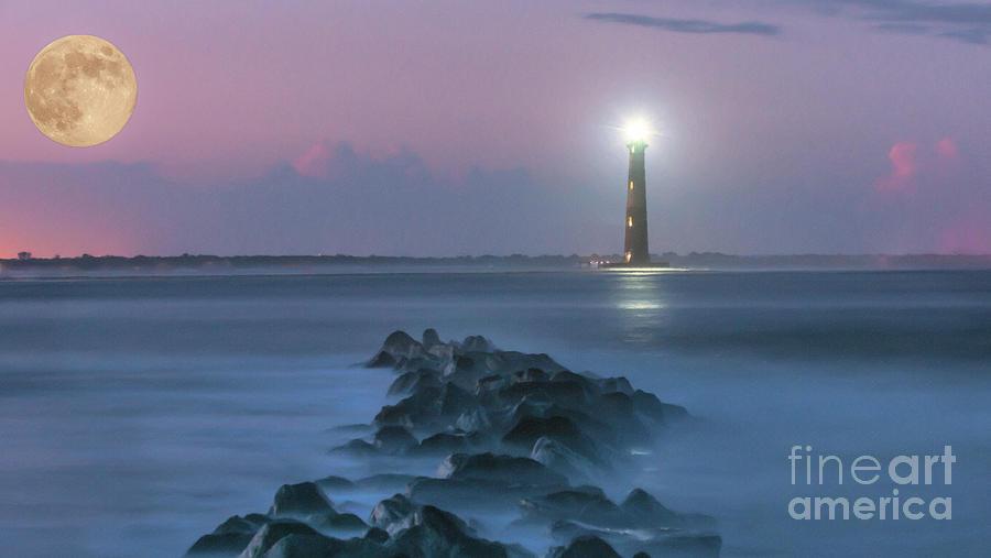 Moon Light Over Morris Island Lighthouse Photograph