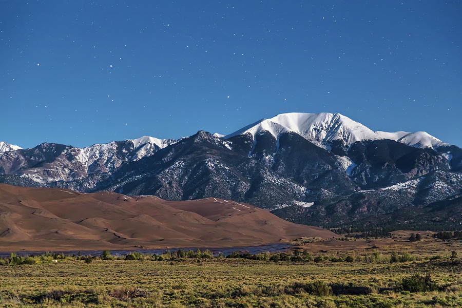 Moon Lit Colorado Great Sand Dunes Starry Night Photograph