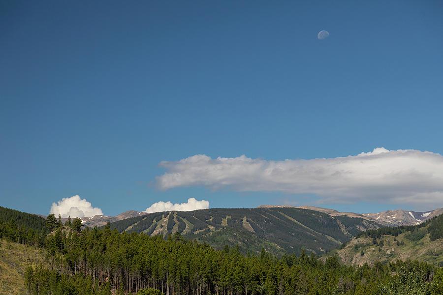 Moon Over Eldora Summer Season Ski Slopes Photograph