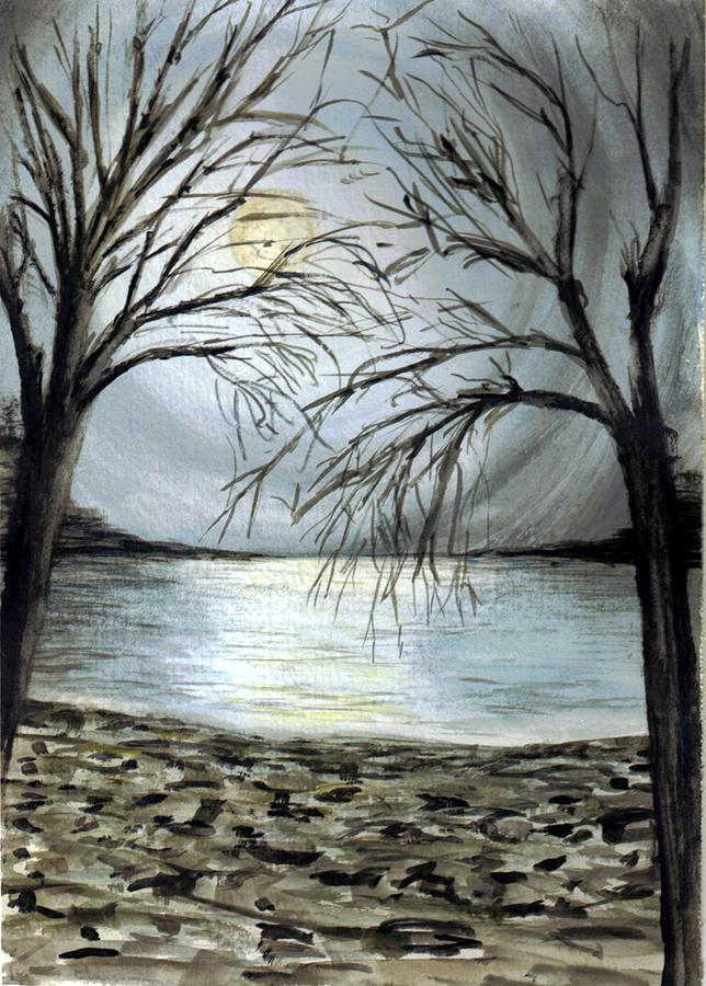 Moon Over Lake Painting
