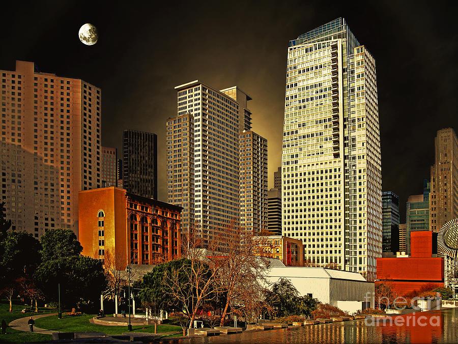 Yerba Buena Garden Photograph - Moon Over Yerba Buena Gardens San Francisco by Wingsdomain Art and Photography