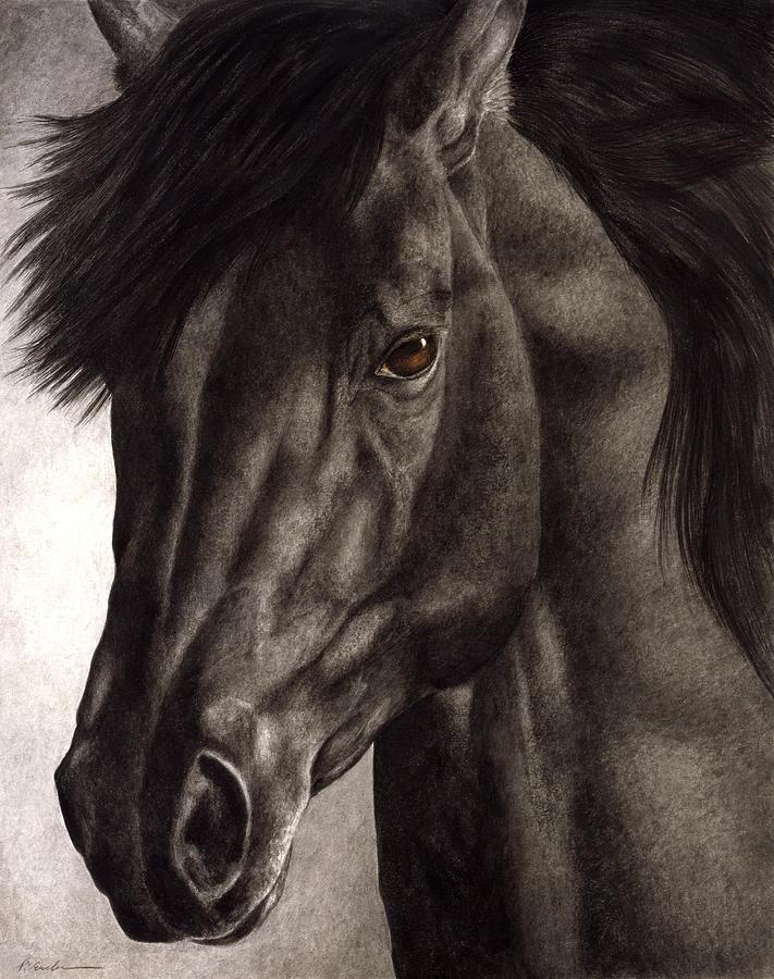 Horse Painting - Moondark by Pat Erickson