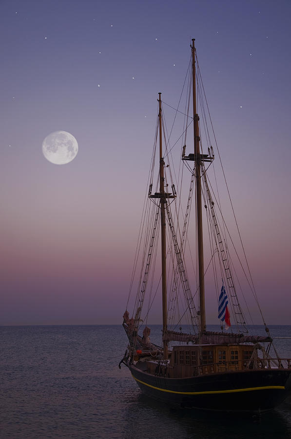 Mediterranean Photograph - Moonlight In The Med by Mark H Roberts