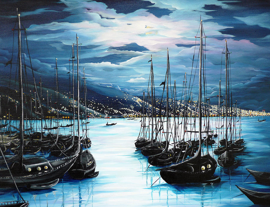 Ocean Painting   Caribbean Seascape Painting Moonlight Painting Yachts Painting  Marina Moonlight  Port Of Spain  Trinidad And Tobago Painting  Greeting Card Painting Painting - Moonlight Over Port Of Spain by Karin  Dawn Kelshall- Best