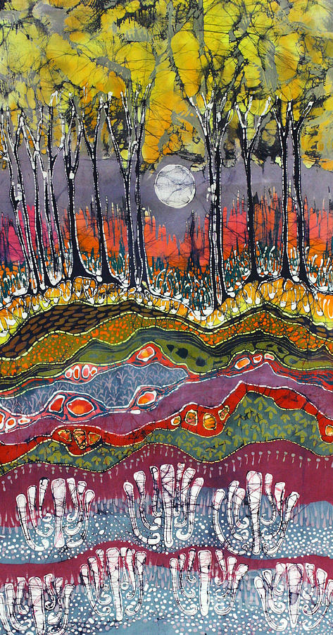 Batik Tapestry - Textile - Moonlight Over Spring by Carol  Law Conklin